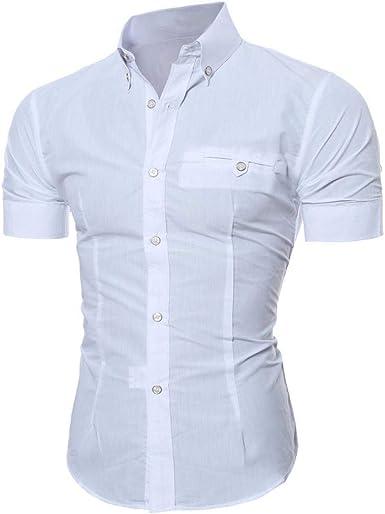 Camisas Hombres Verano Hombres Camisa Impresión De O Hombre De Cuello Top Moda Completi Slim Fit Blusa Boy Camisa De Manga Corta Color Sólido: Amazon.es: Ropa y accesorios