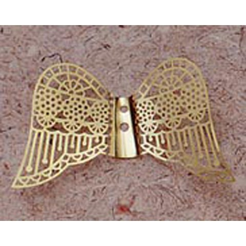 Angel Wings - Metal Filigree - Down Facing - Gold - 2-3/8 in - 2 pcs