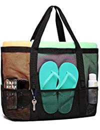 Mesh Beach Bag, F-color Oversized Beach Tote 9 Pockets Beach Toy Bag, Black