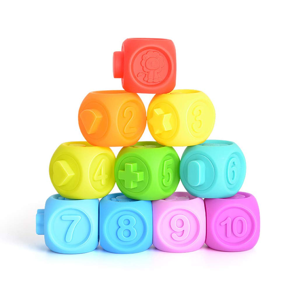 BeesClover 10 Pcs//set Baby Grasp Toy Building Blocks 3D Touch Hand Soft Balls Baby Massage Rubber Teethers Squeeze Toy Bath Ball Toys