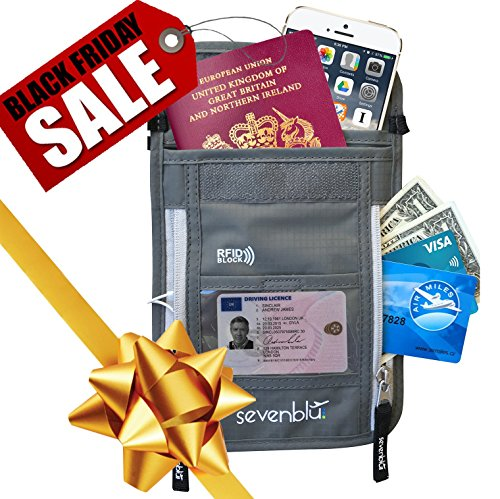 SevenBlu Passport Holder | Travel Neck Wallet w RFID Block - # 1 Hidden Neck Pouch - PREMIUM Quality Money Belt - for Women and Men (Gray)
