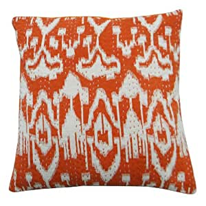 """Orange Pillow Cover KanthaStitch Cushion Cover 40 Cm Ethnic Home D?cor Pillowcase Throw 16"""" Gift"""