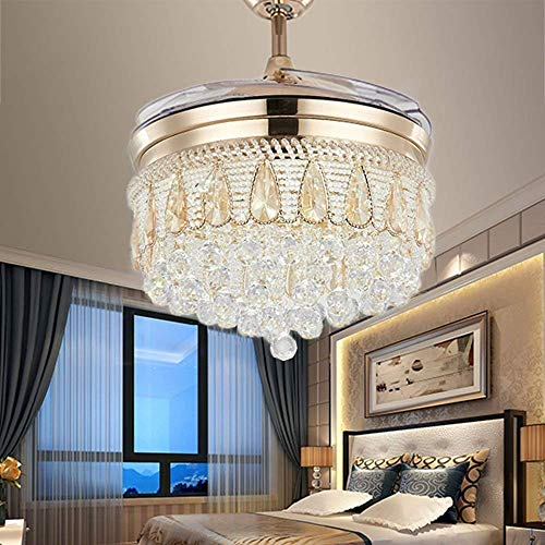 (TiptonLight Ceiling Fan with 4 Plastic Folding Blades Irregular Shape with White Warm Nuetral Light Remote Control 42 Inch Ceiling Fan Light (42 inch, Rose gold))