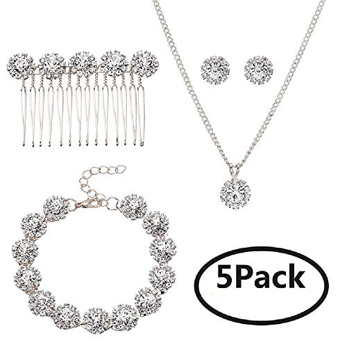 Ammei Bridal Wedding Jewelry for Brides with Crystal Side Comb Earrings Necklace Bracelets 5 Pieces (Silver)