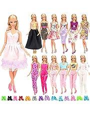 Miunana 15 Stycken = 5 St Handgjorda Prinsessaklänningar Trendiga Modekläder + 10 St sSlumpmässigt Utvalda Skor För Barbie 11,5 Tum 28-30 Cm Docka