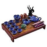 ufengke Dark Blue Ice Crack Kung Fu Tea Set Tea Service With Tea Tray