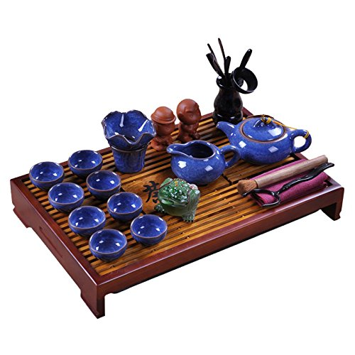 ufengke Dark Blue Ice Crack Kung Fu Tea Set Tea Service With Tea Tray by ufengke®-ts