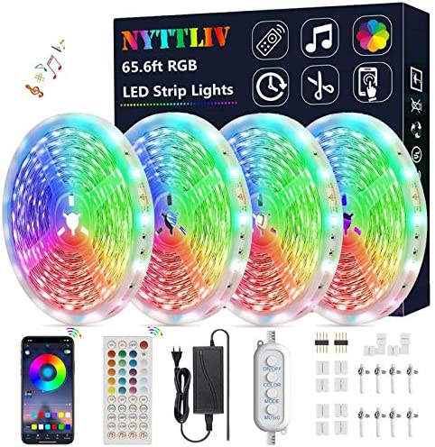 LED Strip Lights,65.6ft/20m NYTTLIV Smart Led Lights SMD 5050 RGB Color Changing Rope Lights with Bluetooth Controller Sync to Music Apply for TV,Bedroom,Party and Home Decoration (65.6FT/20M)