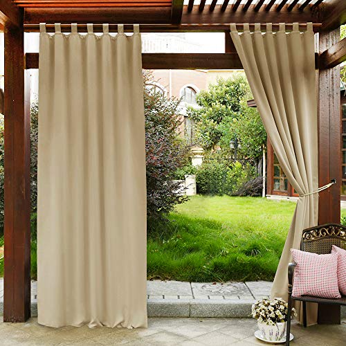 PONY DANCE Indoor Outdoor Curtains - Solid Color Tab for sale  Delivered anywhere in USA
