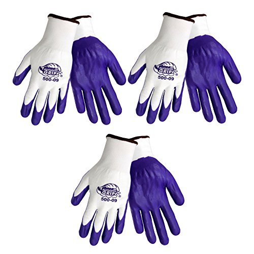 3 Pack Tsunami Grip 500 Purple Nitrile Grip Work Gloves Sizes S-XL (Extra Large) -  Global Glove