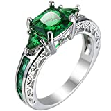 XAHH Women Platinum Plated Square Triangle Green Emerald Crystal Cubic Zirconia CZ Hollow Openwork Ring