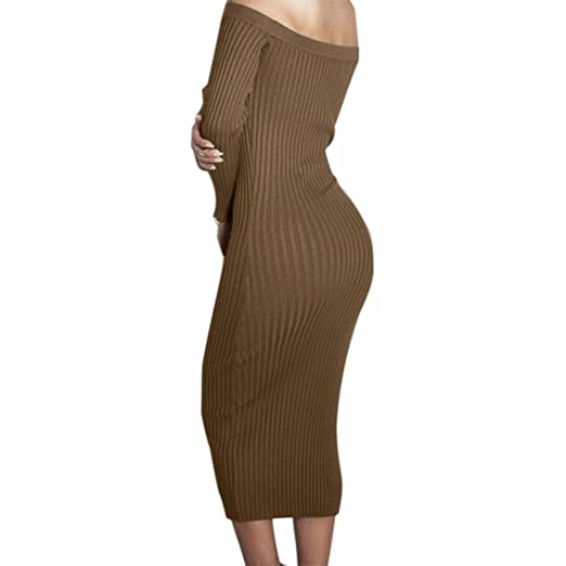 159bfc1fedd4e Yizenge Long sleeve Off Shoulder Sweaters Sexy Autumn Soft Tight Elastic  Dress
