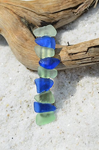 Genuine Cobalt Blue Sea Glass and Aqua French Barrette Hair ()