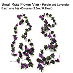 Zerodeco-4-Pack-Artificial-Fake-Rose-Silk-Flower-with-Green-Leaf-Vine-Plastic-Hanging-Vine-Garland-Artificial-Flora-Wreath-Wedding-Party-Garden-Wall-Valentine-Decoration-Purple-and-Lavender