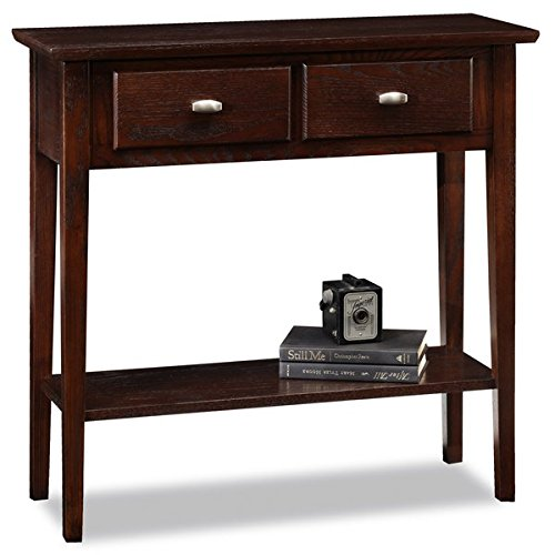 Wood Console Table with 1 Shelf - Console Table with 2 Drawers - Chocolate Oak