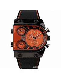 OULM Men's Military Oversize Multi TimeZones 3 Dials Leather Analog Sports Wrist Watch HP9315B Black Band Orange Face