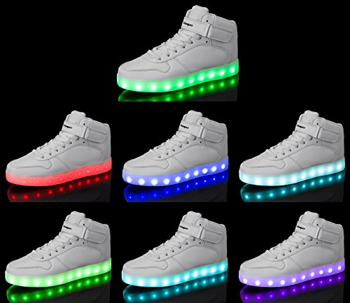 Shoes Sneakers amp; 7 Light LED White Breathable For Light Shoes LED Women Shoes Shinmax Adult Shoes Colors Kid Up Men Yf66xI