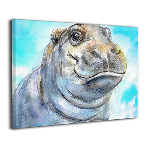 - Achujuyou Modern Wall Art On Canvas Baby Hippo Painting Frameless Artwork Bedroom Living Room Decorative Painting Modern Gallery 16