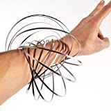 Flow Ring Toy Magic Flowtoys Flow Ring Kinetic Spring 3D Arm Bracelet toroflux Slinky Inductive Magic Ring (Silver)
