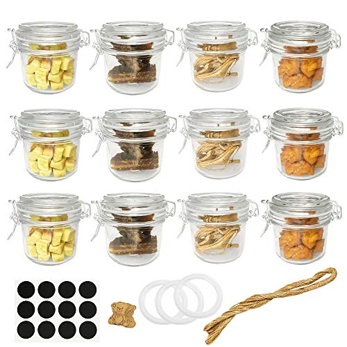 Folinstall 12 Pcs 8 oz (250ml) Glass Jars with Airtight Lids, Small Mason Jars With Hinged Lids for Herbs, Spices, Art. Extra 3 Replacement Silicone Gaskets, Chalkboard Labels and Tag Strings Included (Glass Jar 8 Oz With Lid)