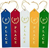 Flat Carded Award Place Ribbons 1st 2nd 3rd 4th 5th Set - Blue Red White Yellow Green with Event Card 12 Each - 60 Pack by Clinch Star