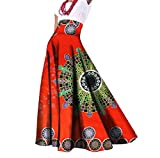 Abetteric Women African Print Dashiki Long Big Pendulum Pleated Party Skirt 10 2XL