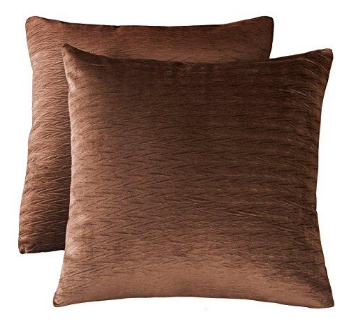 Chocolate Brown Velvet - PHF Velvet Wrinkled Euro Sham Cover Pack of 2 Throw Pillow Cover 26