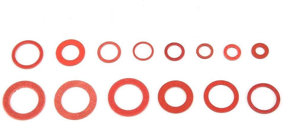 150pcs 14 tailles Kit de rondelles plates en fibre de papier en acier rondelle disolation Broco Jeu de rondelles de cuivre avec bo/îte assorties