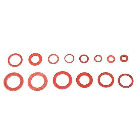 150Pcs Red Steel Paper Flat Washers 14 Sizes Fiber Flat Washers Assortment Kit Insulation Sealing Washer Assortment Set with Plastic Box