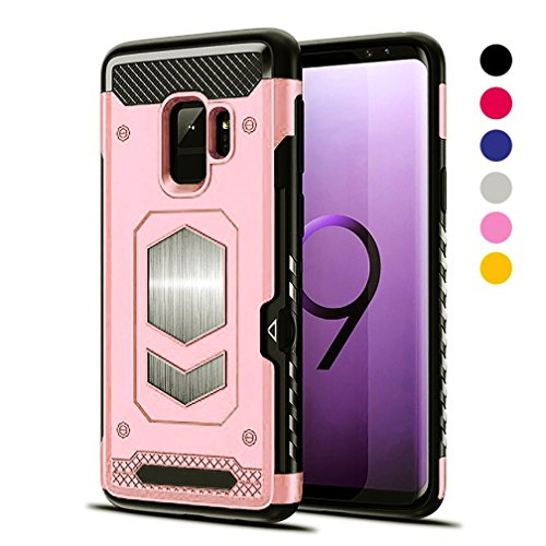 Jazliv [Gun Metal Series] Heavy Duty Protector [Wireless Charging Ready]+[Magnetic Car Mount Ready] with Slim Card Holder (Wallet) Raised TPU for Screen Protection (RoseGold) Compatible With Galaxy (Pink Metal Case)