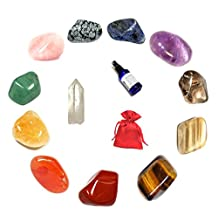 GeoFossils Crystal Stone Set of 12 Healing Crystals contained in a Satin Pouch within a ...