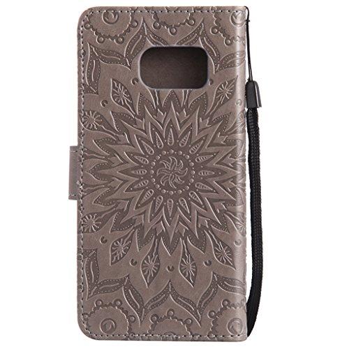 Trumpshop Smartphone Carcasa Funda Protección para Samsung Galaxy S7 edge [Rrosa] 3D Mandala PU Cuero Caja Protector Billetera Choque Absorción Gris