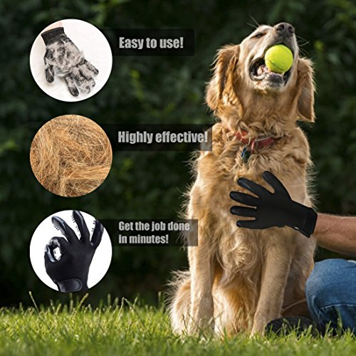 Pet Grooming Glove - Hair Remover Brush for Dogs, Cats & Horses with Long Short Fur | Gentle & Breathable Massage Bathing Brush Tool with Enhanced Five Finger Design by Pet Pet (Image #2)