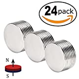 "FINDMAG Powerful Neodymium Disc Magnets,Strong,Permanent,Rare Earth Magnets,Fridge,DIY, Building, Scientific, Craft and Office Magnets, 1.26""D x 0.08""H, Pack of 24"