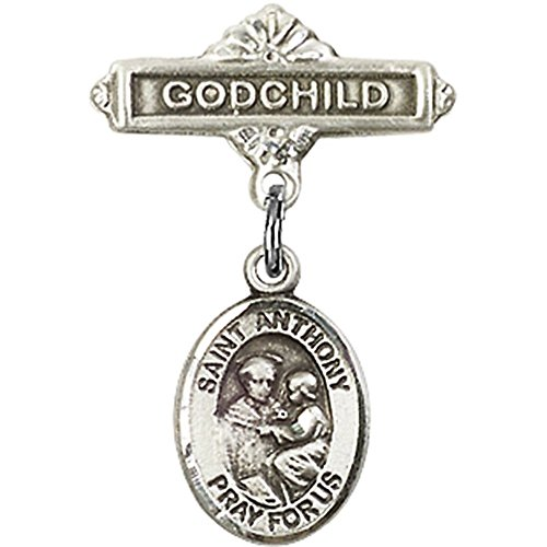 Sterling Silver Baby Badge with St. Anthony of Padua Charm and Godchild Badge Pin 1 X 5/8 inches by Unknown