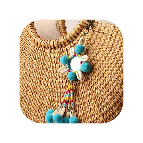 Boho Ethnic Colorful Bead Hairball Shell Pendant Keychain Trend Joker Bag Car Drop Hanging ()
