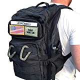 Active Doodie Gear Mens Tactical Style Baby Bag, Diaper Bag for Dads, Military Inspired, Changing Pad Combo (Dad Squad Velcro Patches, Black, Large)