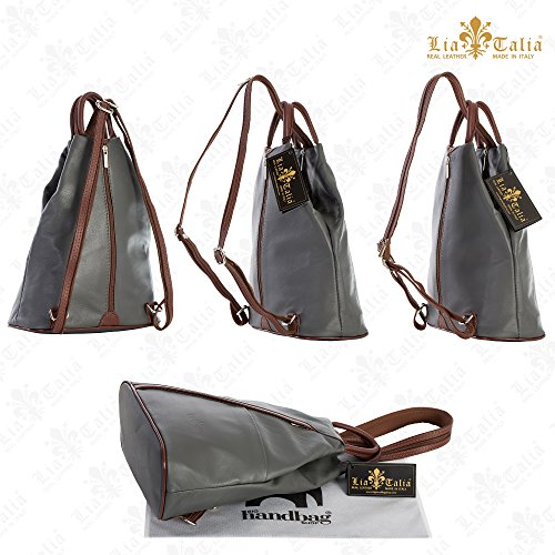Leather LIATALIA Grey Convertible Soft ALEX Rucksack Bag Small Dark Backpack Duffle Italian Unisex Strap rRwRBOtq