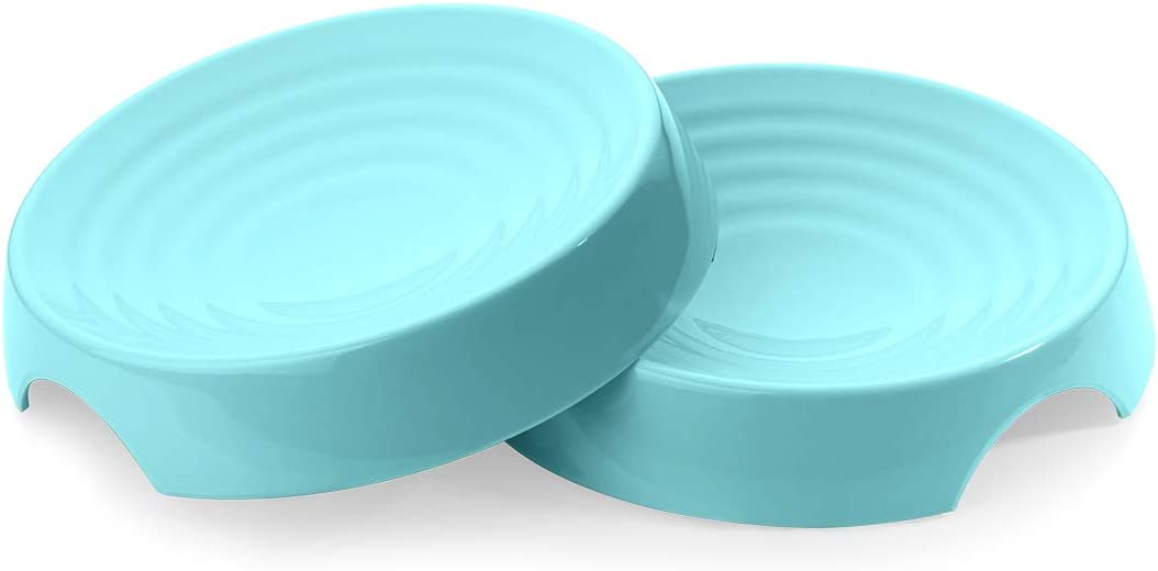 CatGuru Premium Whisker Stress Free Cat Food Bowls, Cat Food Dish. Provides Whisker Stress Relief and Prevents Overfeeding! (Round - Set of 2 Bowls, Aruba)