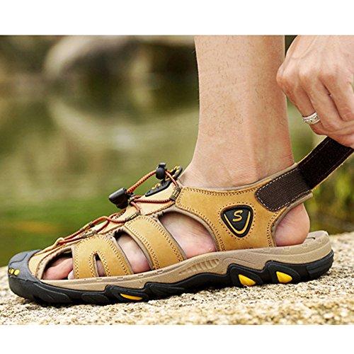 Aire Los Cerrados Zapatos Libre El Real Playa Gran Hombres Sandalias De Punta Senderismo Para Cerrada Cuero Al Yellow Tamaño Recorrido 50WcAqnaT