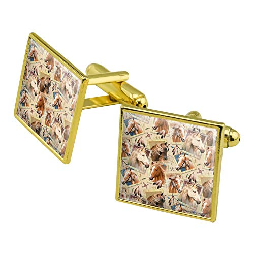 GRAPHICS & MORE Framed Horses Selfie Picture Pattern Square Cufflink Set Gold Color ()