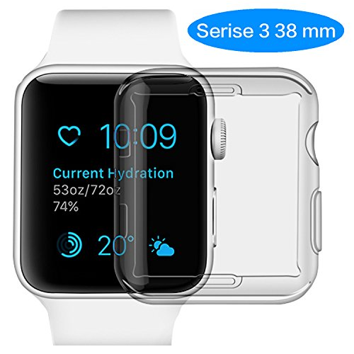 apple watch 38 mm screen protector,Wistore iwatch 3 screen protector tpu all-around protective case 0.3mm High Defination clear ultra-thin cover for 2017 new apple watch 3 case (38mm)