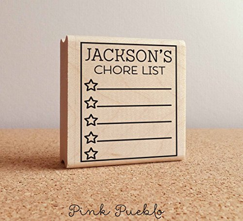 Square Personalized Rubber Stamp - Planner Stamps, Boy or Girl Chore List Rubber Stamp, Personalized Planner Stamp