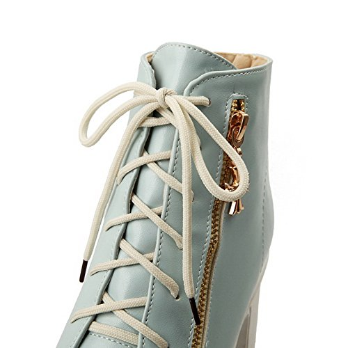 Heels Round Toe Women's Top Pu Blue Boots Metal AgooLar High Closed with Solid Low UgSxnq0