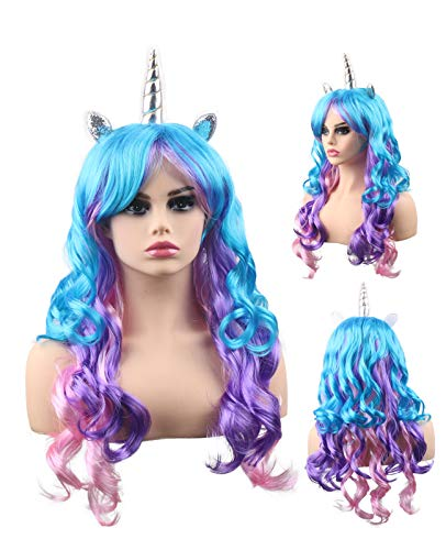 kaste Women Princess Rainbow Unicorn Wig Long Curly Hair Wigs Halloween Party Cosplay (QY-6971)
