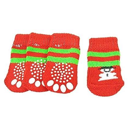 eDealMax muñeco de Nieve Impreso Anti Slip elástico calcetines Para Perros mascotas (2 Pares)