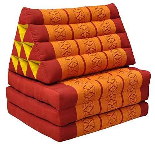 Tungyashop@thai Traditional Cushion 67x21x3 Inches Kapok Mattress (Orange-Red, 3 Fold) by Noinoi