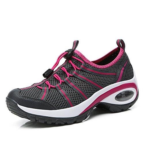 Femmes Enllerviid Glisser Sur La Plate-forme De Course / Jogging / Fitness / Chaussures De Marche Avec Fond Épais A17803 Gris Foncé