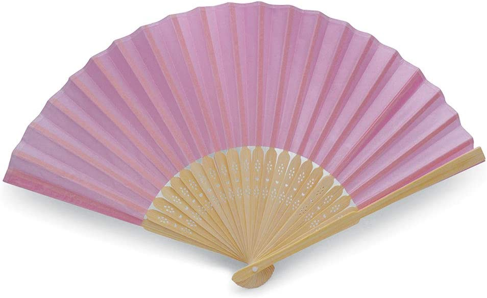 Parties and Outdoor Events for Weddings Baptisms Quality Red Fans Made from Fabric and Bamboo Red, 10 Fans