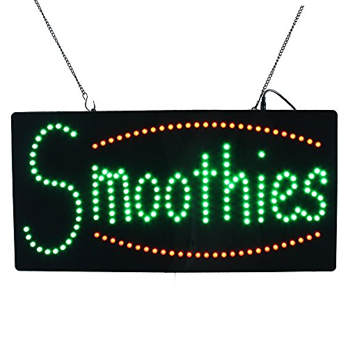 Smoothies Sign Led - LED Smoothies Neon Sign Flashing Animated Light Sign 24x12 inches